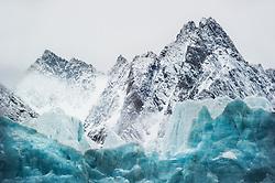 Glacier and mountains, Spitsbergen, Svalbard