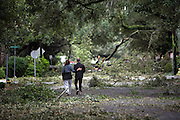 A couple walk along East Jones Street among fallen trees and debris left by Hurricane Matthew as it made its way up the East Coast, Saturday, Oct. 8, 2016, in Savannah, Ga. (AP Photo/Stephen B. Morton)