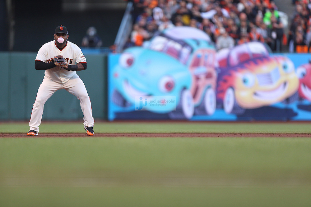 Pablo Sandoval of the San Francisco Giants against the St. Louis Cardinals during Game Seven of the National League Championship Series at AT&T Park on October 22, 2012 in San Francisco, California.  (photo by Jed Jacobsohn)