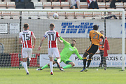 Medy Elito misses the penalty during the EFL Sky Bet League 2 match between Cambridge United and Cheltenham Town at the Cambs Glass Stadium, Cambridge, England on 21 April 2018. Picture by Antony Thompson.