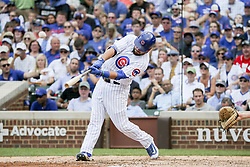 August 17, 2017 - Chicago, IL, USA - The Chicago Cubs' Kyle Schwarber hits a home run during the fifth inning against the Cincinnati Reds at Wrigley Field in Chicago on Thursday, Aug. 17, 2017. The Reds won, 13-10. (Credit Image: © Armando L. Sanchez/TNS via ZUMA Wire)