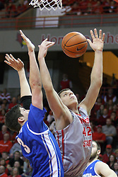 02 January 2013:  Jordan Threloff gets position on Doug McDermott for a rebound during an NCAA Missouri Vally Conference (MVC) mens basketball game between the Creighton University Bluejays and the Illinois State Redbirds in Redbird Arena, Normal IL