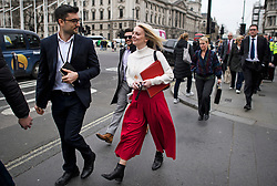 © Licensed to London News Pictures. 27/03/2019. London, UK.  Chief Secretary to the Treasury LIZ TRUSS (centre) is seen arriving at the Houses of Parliament in London. MPs will hold a series of indicative votes on different Brexit options this evening. Photo credit: Ben Cawthra/LNP