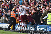 Bradford City defender Anthony McMahon (29)  and Bradford City forward Charlie Wyke (9)  celebrate 1-1 goal celebration during the EFL Sky Bet League 1 match between Rochdale and Bradford City at Spotland, Rochdale, England on 21 April 2018. Picture by Mark Pollitt.