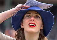 Meredith Garrison, looking at a giant TV screen at the center of the track, watches with suspense the Kentucky Derby as it unfolds in front of her eyes.