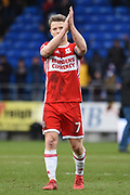 Middlesbrough midfielder Grant Leadbitter (7) applauds fans during the EFL Sky Bet Championship match between Cardiff City and Middlesbrough at the Cardiff City Stadium, Cardiff, Wales on 17 February 2018. Picture by Alan Franklin.