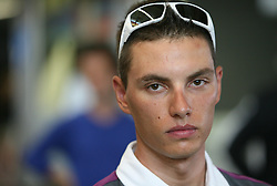 Rider Simon Spilak of Slovenian Olympic Team at departure to Beijing 2008 Olympic games, on July 31, 2008, at Airport Jozeta Pucnika, Brnik, Slovenia. (Photo by Vid Ponikvar / Sportal Images)/ Sportida)