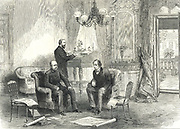 Congress of Berlin, 1878. Otto von Bismarck the German Chancellor, visiting the British delegate Lord Beaconsfield (Benjamin Disraeli) in the Kaiserhof Hotel.   From 'The Illustrated London News' (London,13 June 1878).