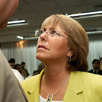 Santiago, Chile  03 January 2006<br /> Chile's Socialist presidential candidate Michelle Bachelet speaks to supporters during a conference in the University of Chile. <br /> Photo: Ezequiel Scagnetti
