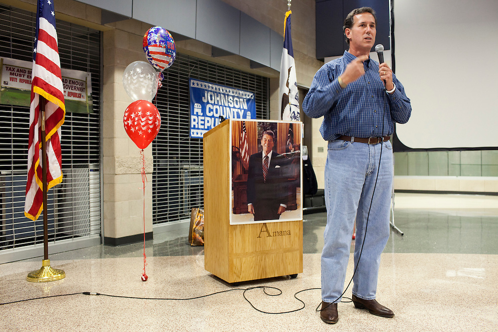Republican presidential hopeful Rick Santorum speaks at a fundraiser for the Linn County Republican Party on Friday, August 5, 2011 in Tiffen, IA.