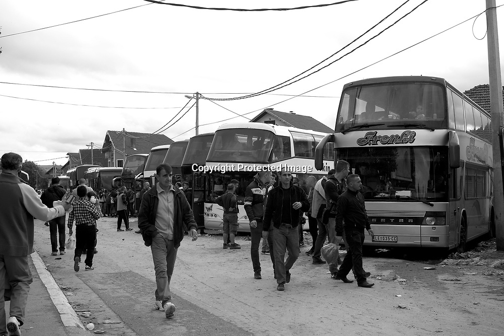 Buses waiting for people traveling to Sid - a mall town in the border with Croatia. For 30 Euros a ticket refugees and or immigrants can take the bus.