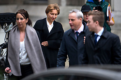 © Licensed to London News Pictures. 21/01/2016. London, UK. A smiling MARINA LITVINENKO (second left)  leaves the The High Court in London where a  report into the killing of  her husband, Alexander Litvinenko was released. Alexander Litvinenko was poisoned with the radioactive isotope polonium-210  in London. Photo credit: Ben Cawthra/LNP