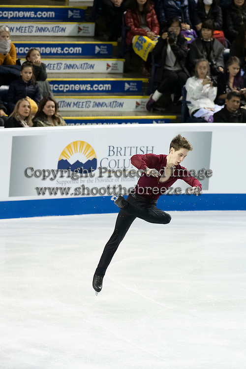 KELOWNA, BC - OCTOBER 26: Russian figure skater Andrei Lazukin competes during the men's long program / free skate of Skate Canada International held at Prospera Place on October 26, 2019 in Kelowna, Canada. (Photo by Marissa Baecker/Shoot the Breeze)