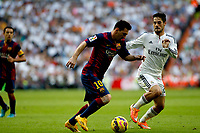 """Spanish  League""- match Real Madrid Vs FC Barcelona- season 2014-15 - Santiago Bernabeu Stadium - Isco (Real Madrid) and Lionel Messi (FC Barcelona) in action during the Spanish League match(Photo: Guillermo Martinez / Bohza Press / Alter Photos)"