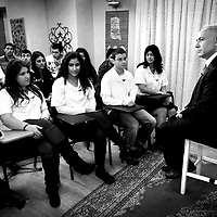 Benjamin Netanyahu's teaches class of teenagers during a TV show, January 2009.