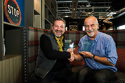Pictured: Garry F McHarg and Ger Harley<br /> Winners of the Nature, Sports Feature and News categories of the Scottish Press Photography Awards 2016, Garry F McHarg and Alasdair MacLeod met with organiser Ger Harley in Glasgow today to pick up their awards. The Awards recognise the depth of talent of Scottish and Scotland based press phtographers including images that do not make the press.<br /> <br /> Ger Harley | EEm 4 November 2016