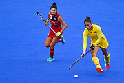 Qiu Guo of China (12) during the Vitality Hockey Women's World Cup 2018 Pool A match between Korea and China at the Lee Valley Hockey and Tennis Centre, QE Olympic Park, United Kingdom on 29 July 2018. Picture by Martin Cole.
