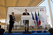 St&eacute;phan Le Foll, French Minister for Agriculture and spokesman of govern, speaks at the ceremony start of works of the France Pavilion at Expo 2015, (left) Alain Berger, French General Commissioner, Rho-Pero, Milan, September 29, 2014. &copy; Carlo Cerchioli<br /> <br /> St&eacute;phan Le Foll, Ministro francese dell'agricoltura e portavoce del Governo, parla alla cerimonia di inizio lavori della costruzione del padiglione della Francia al Expo Milano 2015, (sin) Alain Beger, Commissario genrale della Francia al Expo, Rho-Pero, Milano, 29 Settenmbre 2014.