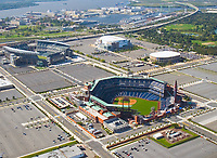 AErial view of the Philly sports stadiums with navy shipyard and Route 95 southbound, delaware river. lincoln financial field, citizens bank park, wachovia center and spectrum