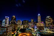 Dramatic Uptown Charlotte night skyline captured from Fahrenheit restaurant