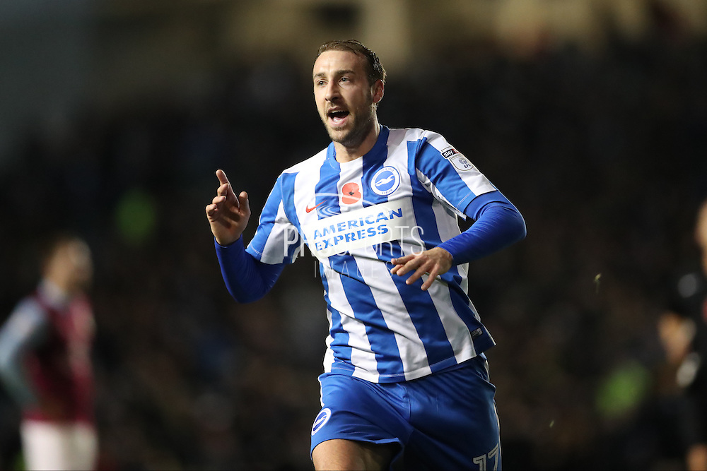 Brighton & Hove Albion centre forward Glenn Murray (17) scores a goal 1-1 and celebrates during the EFL Sky Bet Championship match between Brighton and Hove Albion and Aston Villa at the American Express Community Stadium, Brighton and Hove, England on 18 November 2016.