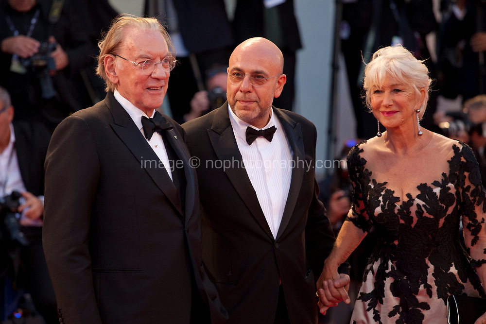 Donald Sutherland,  Paolo Virzi and Helen Mirren at the premiere of the film The Leisure Seeker (Ella & John) at the 74th Venice Film Festival, Sala Grande on Sunday 3 September 2017, Venice Lido, Italy.