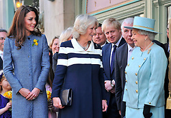 LONDON,ENGLAND-1-MAR-2012-ROTA- Britain's Queen Elizabeth (R), Camilla, Duchess of Cornwall (2nd L) and Catherine, Duchess of Cambridge (L) await ahead of a plaque unveiling, as London Mayor Boris Johnson (2nd R) looks on outside of the Fortnum and Mason store in central London March 1, 2012. They had viewed the Diamond Jubilee product ranges, met staff and unveiled a plaque for the regeneration of Piccadilly. .Photographer Toby Melville, supplied by Ian Jones Photography.No UK Sales for 28 days until 1-4-12