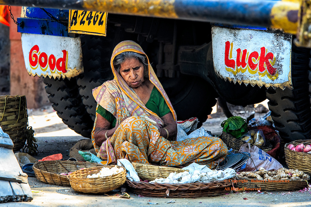 "Good Luck: An elderly woman finds shade and a place to sell her vegetables in a potentially dangerous location underneath a large transport truck, in between two mud flaps that say ""Good Luck"", Kolkata (Calcutta) India."