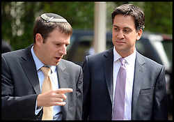 The Labour Leader Ed Miliband (middle) Attends the Installation  of the New Chief UK Rabbi Ephraim Mirvis at St John's Wood Synagogue, London, United Kingdom. Sunday, 1st September 2013. Picture by Andrew Parsons / i-Images