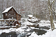 67395-04103 Glade Creek Grist Mill in winter, Babcock State Park, WV