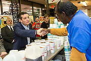 U.S. Senator Ted Cruz and GOP presidential candidate speaks with workers at the famous Beacon Drive-in restaurant before holding a town hall meeting with supporters April 3, 2015 in Spartanburg, South Carolina.