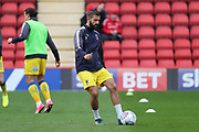 AFC Wimbledon defender George Francomb (7) warming up during the EFL Sky Bet League 1 match between Charlton Athletic and AFC Wimbledon at The Valley, London, England on 28 October 2017. Photo by Matthew Redman.
