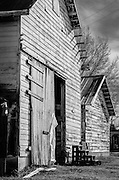 One of several barns at Jordan Farm near High Point, NC.  The image was processed to emulate Kodak Panatomic b&w film.