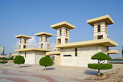 Modern public pavilion buildings on Corniche in Ras al Khaimah  (RAK) emirate in United Arab Emirates