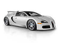 Silver Bugatti Veyron EB 16.4 Grand Sport 2012 mid-engined sports car German supercar isolated on white studio background with a clipping path
