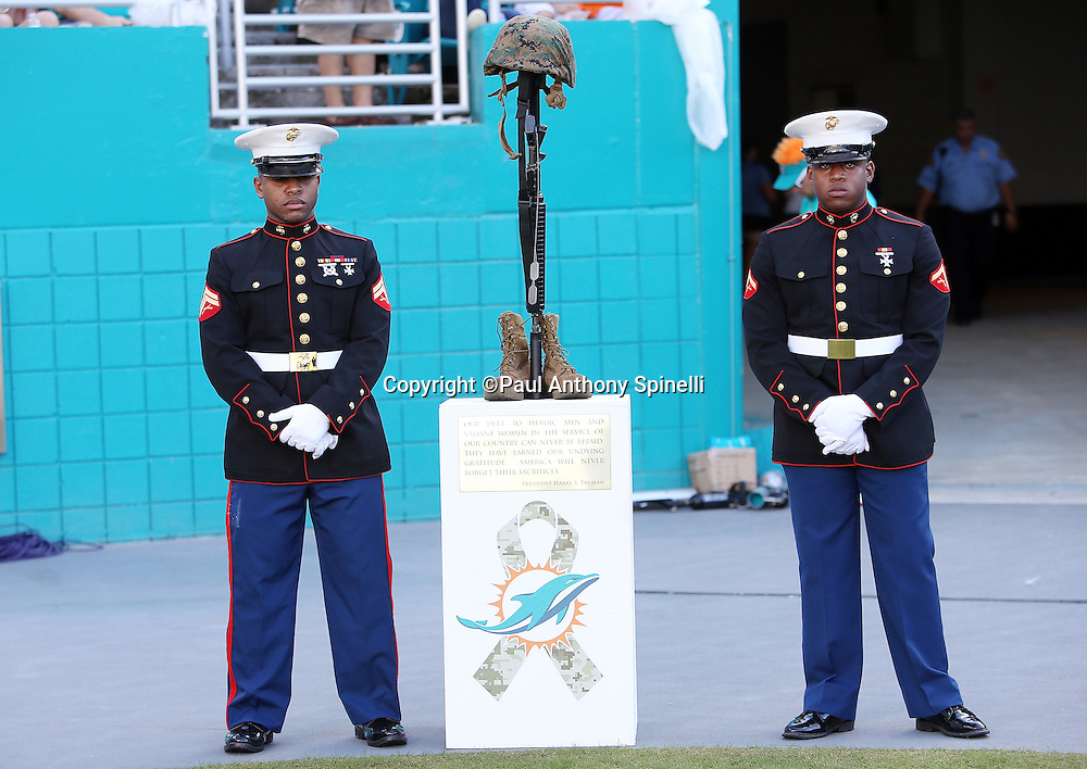 A pair of United States Marines stand guard over a helmet, rifle, and pair of boots as part of the Salute to Service military appreciation during the Miami Dolphins 2015 week 11 regular season NFL football game against the Dallas Cowboys on Sunday, Nov. 22, 2015 in Miami Gardens, Fla. The Cowboys won the game 24-14. (©Paul Anthony Spinelli)