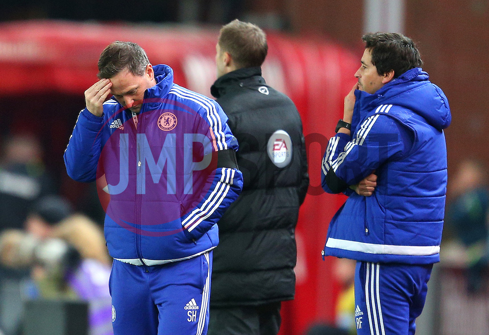 Chelsea coach Steve Holland and Chelsea Assistant Manager, Rui Faria look dejected - Mandatory byline: Matt McNulty/JMP - 07966 386802 - 07/11/2015 - FOOTBALL - Britannia Stadium - Stoke-On-Trent, England - Stoke City v Chelsea - Barclays Premier League
