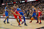 Washington Wizards Troy Brown (6) and New York Knicks Frank Ntilikina (11) during the NBA London Game match between Washington Wizards and New York Knicks at the O2 Arena, London, United Kingdom on 17 January 2019.