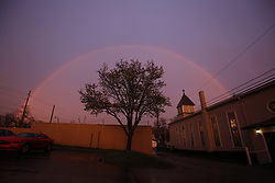 Sunset rainbow and scouting for April 1st wedding, Monday, March 27, 2017 at Gainesway Farm in Lexington.