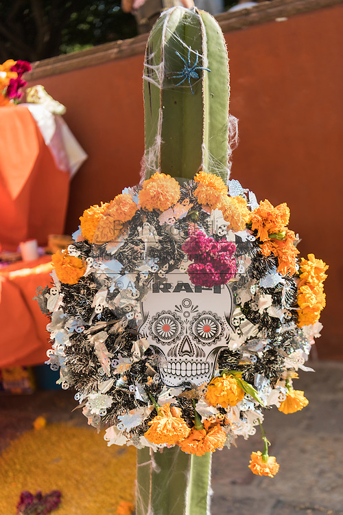 An altar known as an ofrenda made from a cactus for Day of the Dead festival at the Jardin Principal in San Miguel de Allende, Guanajuato, Mexico. The week-long celebration is a time when Mexicans welcome the dead back to earth for a visit and celebrate life.