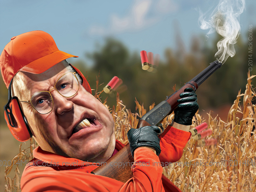"Caricature: Dick Cheney accidentally shoots his hunting buddy while hunting quail.  Photoshop for Melcher Media included in a handcrafted pop up gift book that is a satirical celebration of 10 celebrities gone wild. See video: click ""The Pop Up Book of Celebrity Meltdowns"" in list on the left."