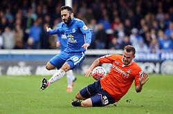 Erhun Oztumer of Peterborough United skips past Luke Wilkinson of Luton Town - Mandatory byline: Joe Dent/JMP - 06/12/2015 - Football - ABAX Stadium - Peterborough, England - Peterborough United v Luton Town - FA Cup