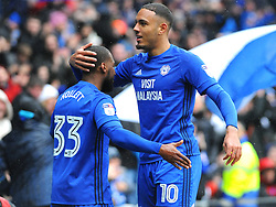 Kenneth Zohore of Cardiff City celebrates his goal with Junior Hoilett of Cardiff City after making it 1-0- Mandatory by-line: Nizaam Jones/JMP- 30/03/2018 -  FOOTBALL -  Cardiff City Stadium- Cardiff, Wales -  Cardiff City v Burton Albion - Sky Bet Championship