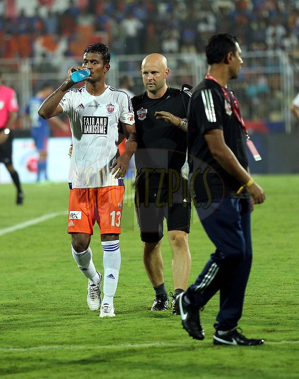 Branding during match 25 of the Indian Super League (ISL) season 2  between FC Goa and FC Pune City held at the Jawaharlal Nehru Stadium, Fatorda, Goa, India on the 30th October 2015.<br /> <br /> Photo by Sandeep Shetty / ISL/ SPORTZPICS