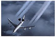 E-3 AWACS with vapor trails