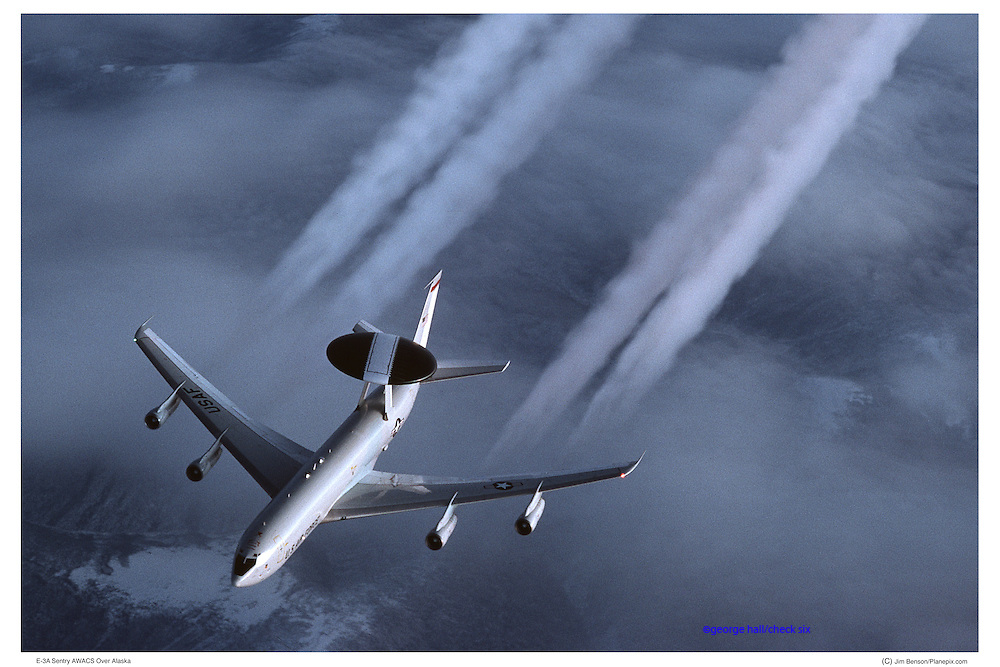 E-3 AWACS with vapor trails