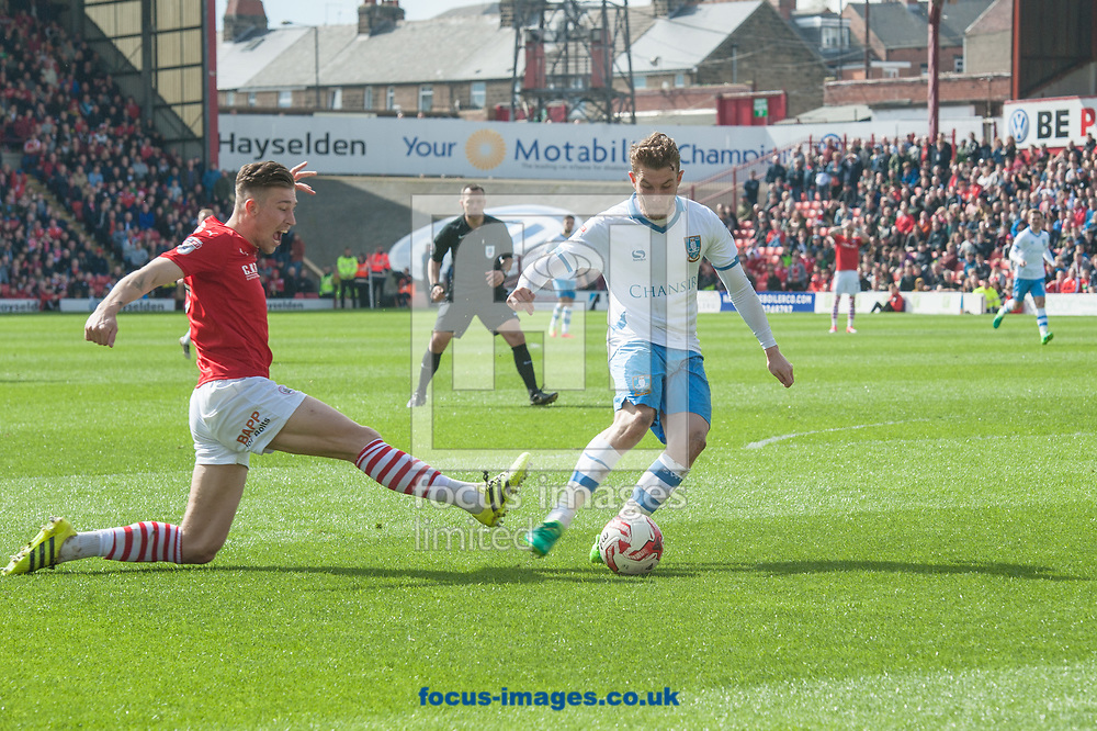 Sam Winnall of Sheffield Wednesday scores his sides first goal against his former club during the Sky Bet Championship match at Oakwell, Barnsley<br /> Picture by Matt Wilkinson/Focus Images Ltd 07814 960751<br /> 01/04/2017
