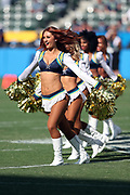 The Los Angeles Chargers cheerleaders perform a dance routine during the 2017 NFL week 1 preseason football game against the Seattle Seahawks, Sunday, Aug. 13, 2017 in Carson, Calif. The Seahawks won the game 48-17. (©Paul Anthony Spinelli)