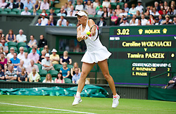 LONDON, ENGLAND - Wednesday, June 27, 2012: Caroline Wozniacki (DEN) during the Ladies' Singles 1st Round match on day three of the Wimbledon Lawn Tennis Championships at the All England Lawn Tennis and Croquet Club. (Pic by David Rawcliffe/Propaganda)