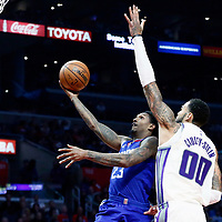 13 January 2018: LA Clippers guard Lou Williams (23) goes for the layup past Sacramento Kings center Willie Cauley-Stein (00) during the LA Clippers 126-105 victory over the Sacramento Kings, at the Staples Center, Los Angeles, California, USA.